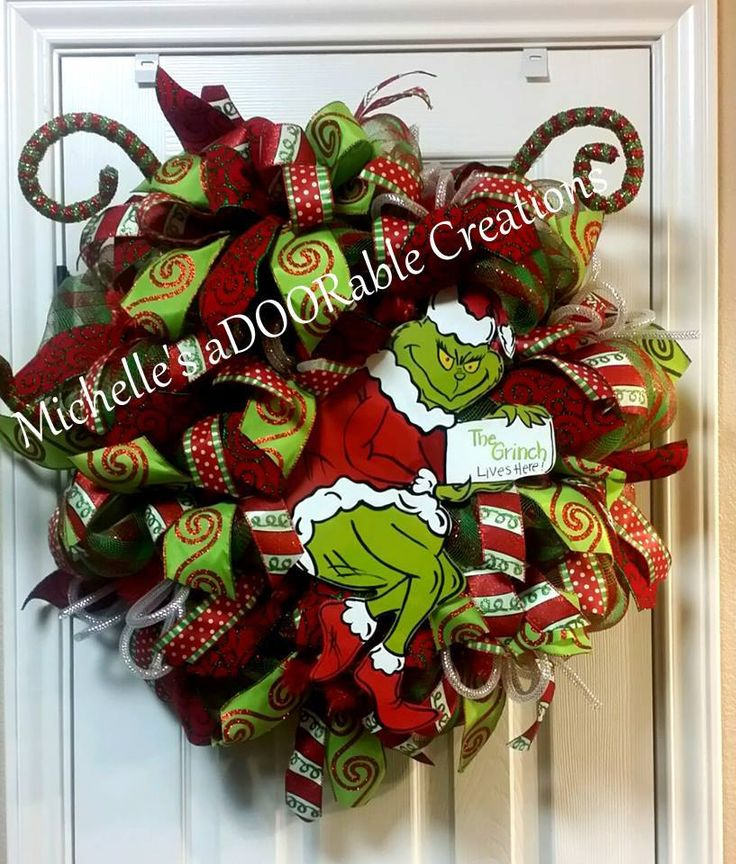 Grinch Wreath, Christmas Grinch Wreath, Grinch Christmas Wreath by MaDoorableCreations on Etsy