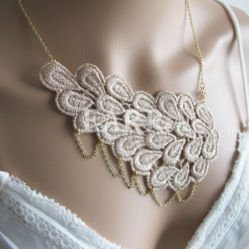 Khaki lace jewelry  lace necklace  bridal lace  by FARRAwedding, www.farrawedding.etsy.com