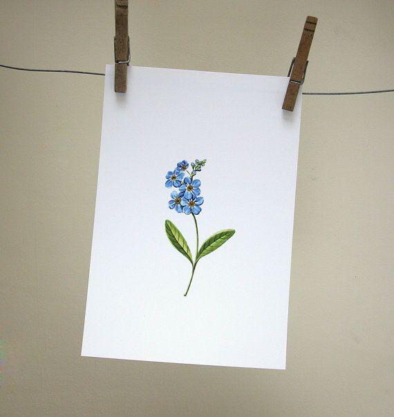 Forget Me Not Original Art Print by giardino on Etsy, $12.00