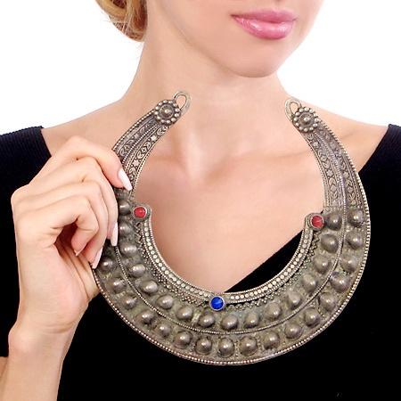 Bronze Antique Indian Tribal Necklace, Handformed by Master Artisans with Glass Gems from JeGem.com