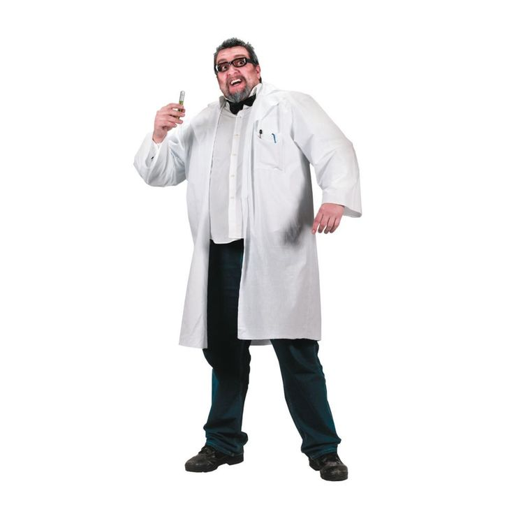 Lab Coat Plus Size Halloween Costume for Men - Large