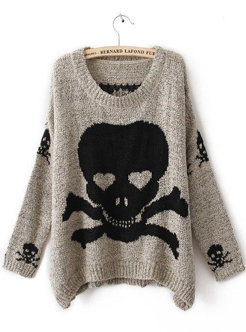 Grey Skull Print Pullovers