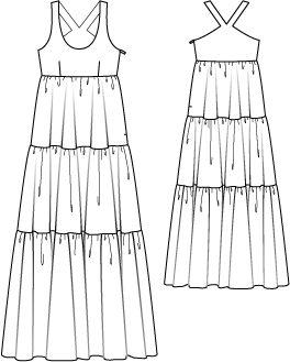 Schnittmuster: Hippie-Kleid - Oberteil gedoppelt - Sommerkleider - Kleider - Damen - burda style