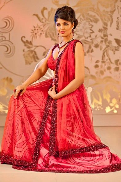 Ombre Red Embellished Satin Lehenga