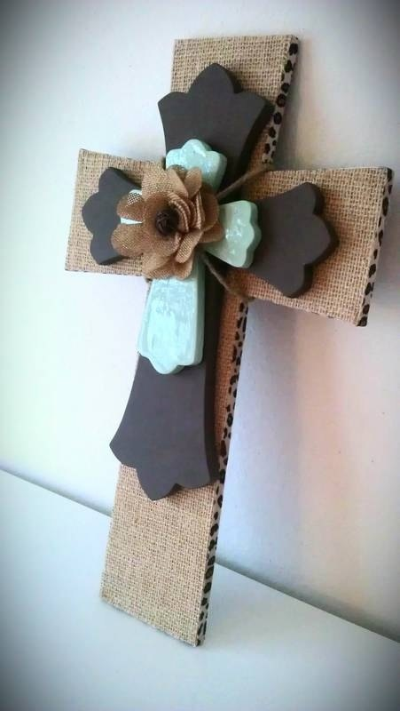 Burlap Cross with Brown and Seafoam Green. $35.00, via Etsy.