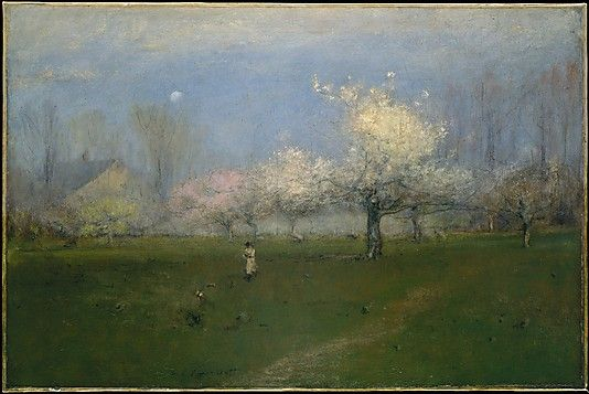 George Inness, (American, 1825–1894). Spring Blossoms, Montclair, New Jersey, ca. 1891.The Metropolitan Museum of Art, New York. Gift of George A. Hearn, in memory of Arthur Hoppock Hearn, 1911 (11.116.4) | Inness lived in Montclair the last sixteen years of his life, a period in which his style evolved into its mistiest, most spiritualized, and most self-expressive. #spring