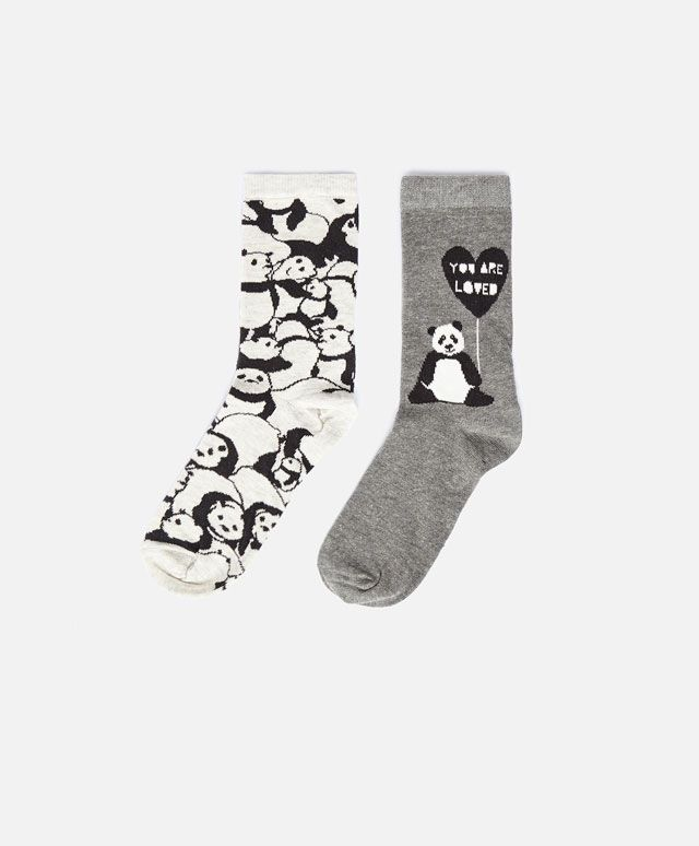 Pack de 2 calcetines medium panda - OYSHO
