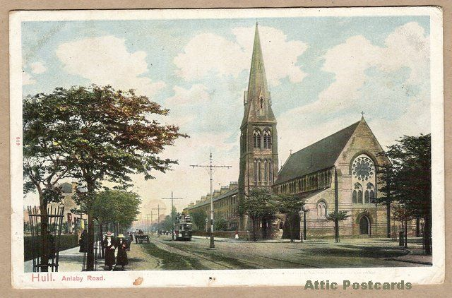 Vintage postcard of Anlaby Road in Hull, Yorkshire, England.  Depicts a church, people, horse and cart  and a tram. Printed in Saxony.