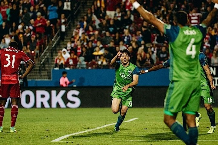 2016 MLS Cup Playoffs: Sounders FC at FC Dallas | Game 2 of Semi-Final; Nicolas Lodeiro celebrates after scoring critical away goal