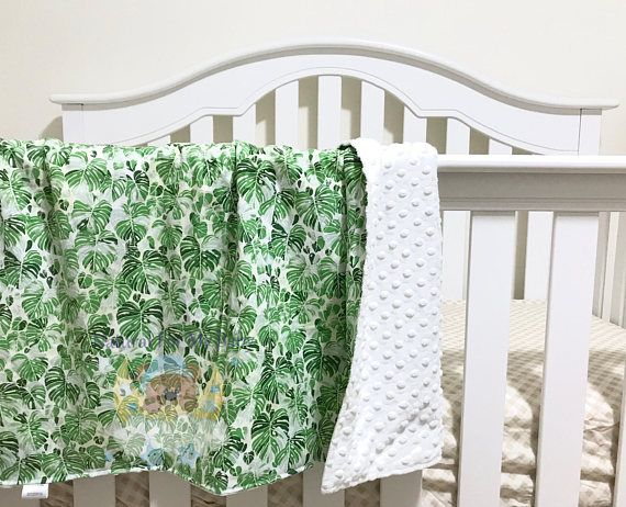 Green Leaves Floral Girl Bedding Flowers Blanket Cotton Minky