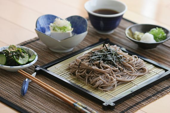 Zaru Soba (Japanese Buckwheat Noodles) with Toasted Nori, Grated Daikon, Wasabi, Green Onions and Dipping Sauce