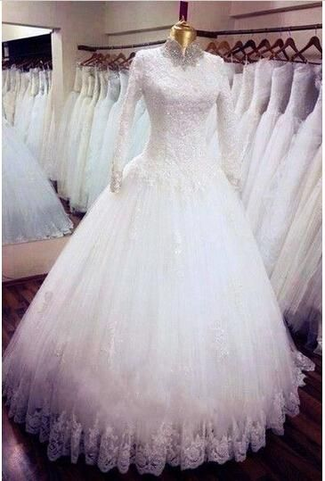 Informal Wedding Dresses Wedding Dress With Hijab Beaded Crystals High Neck Long Sleeve Dress Lace Sequined Appliques Floor Length Ball Gown Muslim Bridal Gowns Knee Length Wedding Dresses From Lovemydress, $163.61| Dhgate.Com