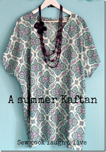 A easy no pattern required kaftan top http://sewcooklaughlive.blogspot.com.au/2012/08/a-summer-kaftan-with-tutorial.html