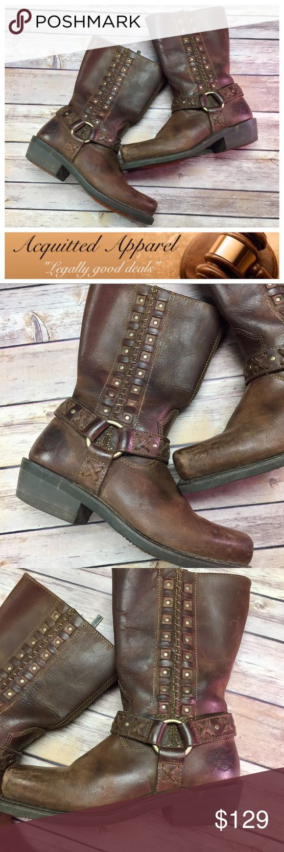 [Harley Davidson] Leather Riding Boots Amazing condition leather Harley Davidson riding boots. Real leather and can be re polished and worn for life. Harley-Davidson Shoes Combat & Moto Boots