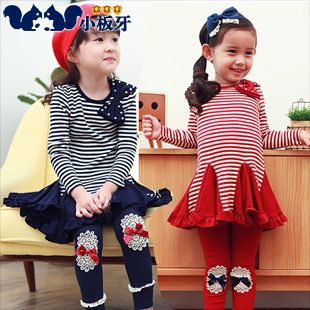 2013 autumn korean children children baby girls bow striped long-sleeved dress child 6545 only $11.64USD a Piece