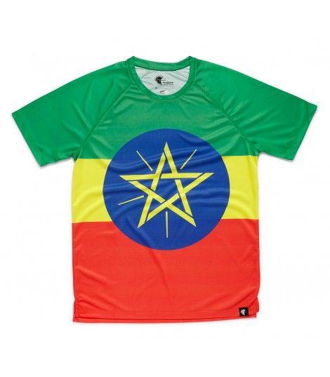 Camiseta running hombre #adisabeba bandera Etiopía Hoopoe Running Apparel. #hoopoerunning #ethiopia #runwithstyle #fancyshirts