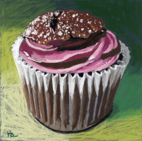 pink frosted cupcake, painting by artist Ria Hills