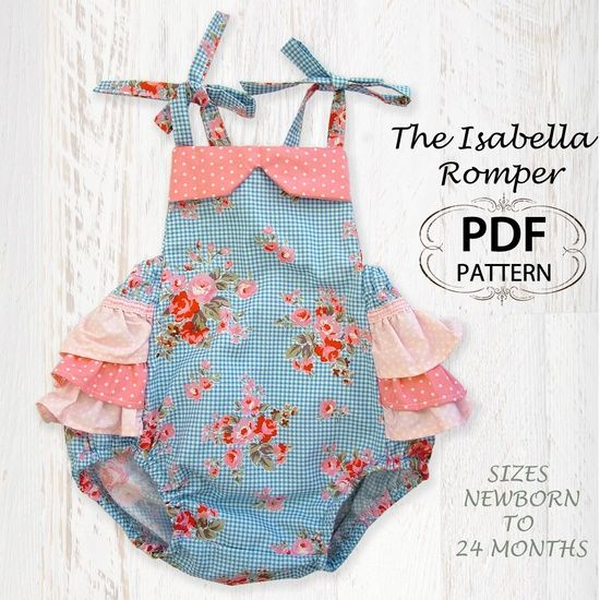 newborn sewing pattern | Baby sewing pattern for romper sunsuit, PDF Sewing pattern for baby ...