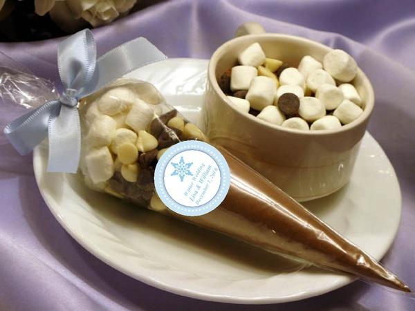 WINTER SNOWFLAKE hot cocoa cone wedding favors bridal shower birthday - hot chocolate. $2.99, via Etsy.