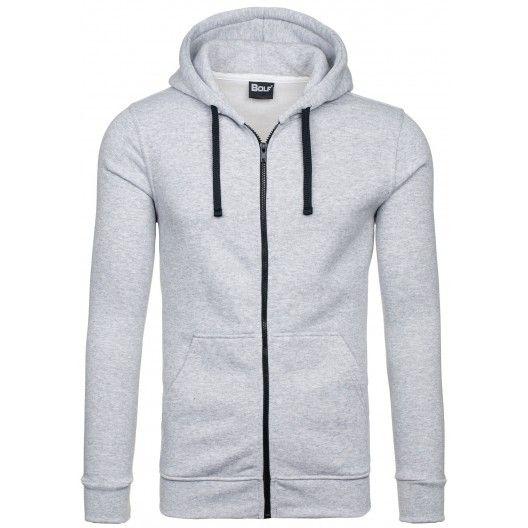 Pánske mikiny s kapucňou sivej farby na zips - fashionday.eu