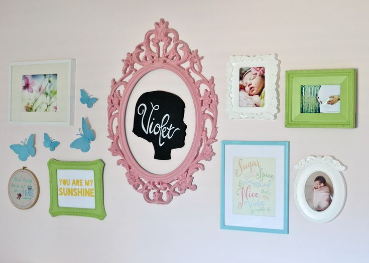 Sweet gallery wall idea for baby girl nursery – love the framed silhouette!  – Gallery Walls