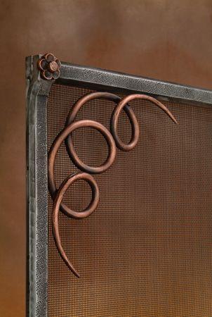 Custom iron works, custom metal works, custom fireplace screens, fireplace accessories made in Los Angeles