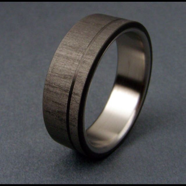 Captivating Carbon Fiber U0026 Titanium Ring W/ Pinstripe
