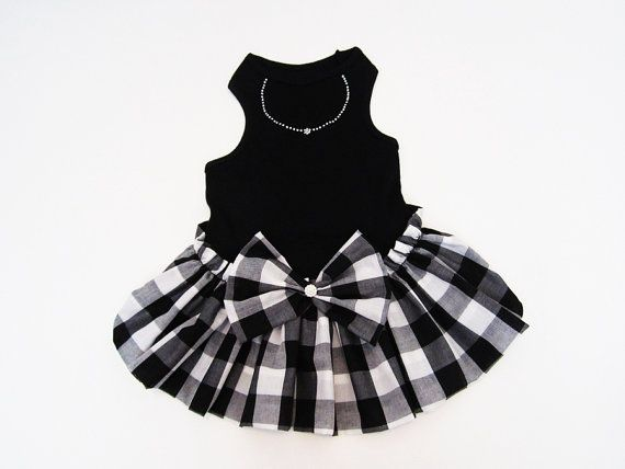 Black and White Color Block Check Dress Dog Dresses by miascloset, $18.00