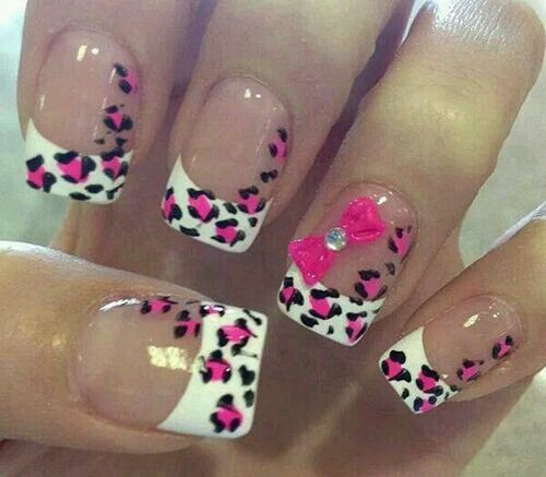 87 best kleen af nailz images on pinterest acrylic nail designs french tip nail art with pink and black leopard prints the studded pink bow looks so cute and adorable in this nail prinsesfo Gallery