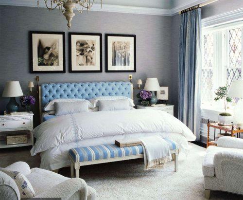 #bedroom #gray #blue: Decor, Color Schemes, Headboards, Wall Color, Grey Wall, Blue Bedrooms, Master Bedrooms, Gray Wall, Gray Bedrooms