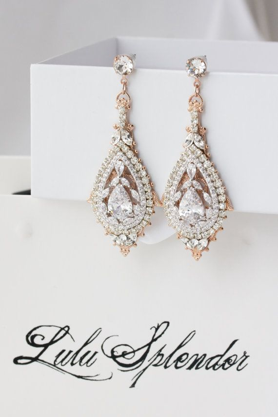 Rose Gold Bridal Earrings Chandelier Wedding by LuluSplendor
