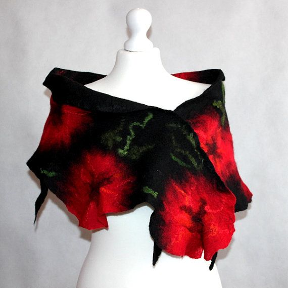 Felted Flower Scarf Felted Collar Poppy Red Black by EsartFelt