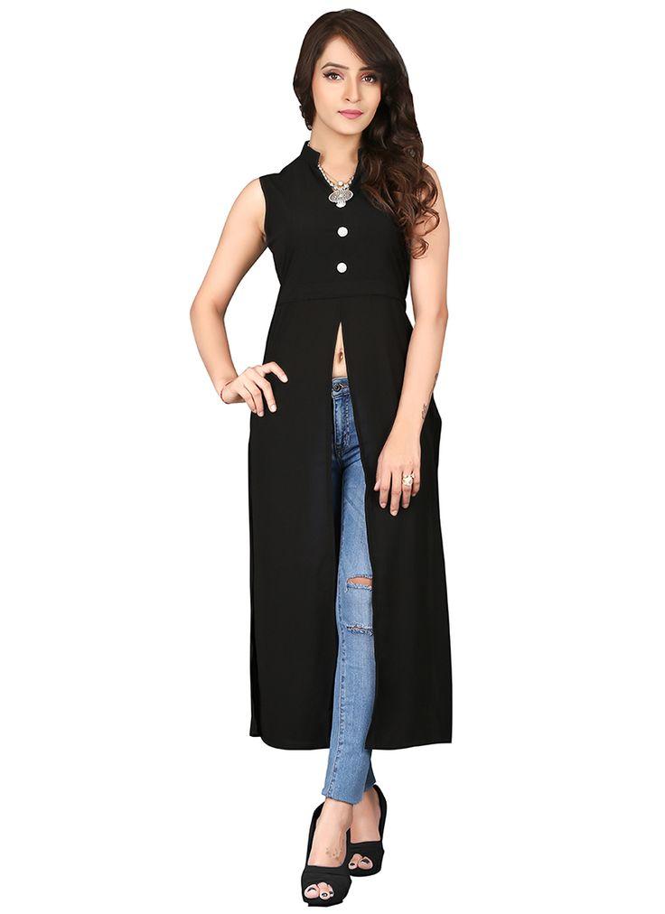 Black Cotton Party Wear Plain Long Stylish Kurti