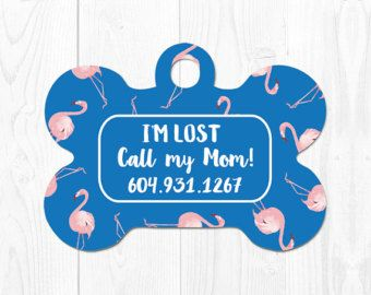 Dog Tag for Dogs Dog ID Tag Pet Tags Dog Tags Pink Dog Tag Custom Pet Tag for Dogs Pet ID Tag Custom Dog Tag Flamingo Dog Tag ID