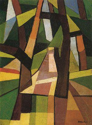 Emilio Pettoruti (Argentinian, 1892-1971), Il parco, 1917, oil on harboard, 33 x 24 cm. Private collection