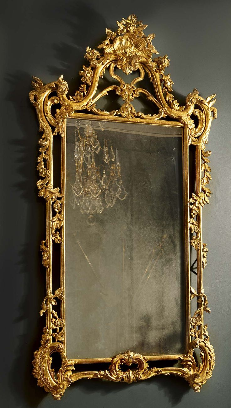 Antique English Rococo Gilded Mirror Furniture Props