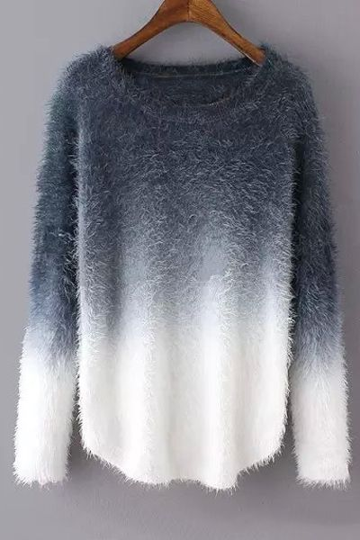 Ombre Mohair Long Sleeve Sweater