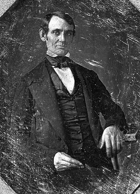 First known portrait of young, beardless Abraham Lincoln taken by Nicholas H. Shepard (c. 1846) shortly after the time of his marriage to Mary Todd (Lincoln).  *s*