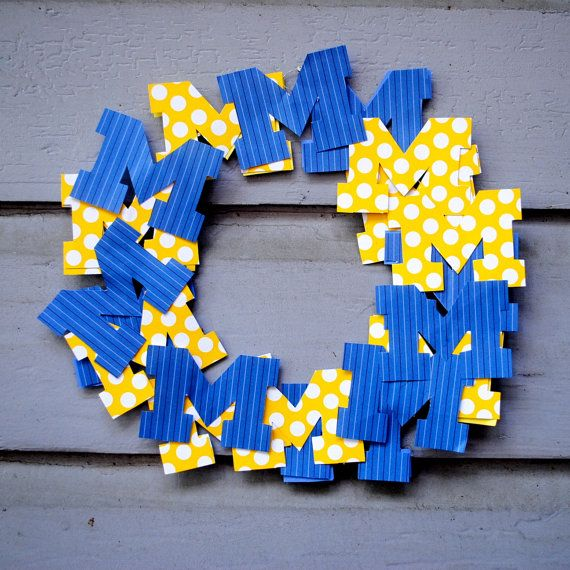 university of michigan paper wreath paper wreaths go blue university ...