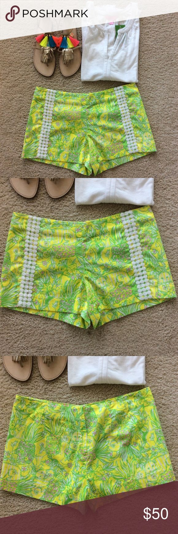 """Lilly Pulitzer Liza Short Lilly Pulitzer Liza Short. Super cute print, bright yellow and lime green colors. Lace detail down the sides. Back zip and button closure. Laying flat waist approx 16.5"""" across. 3"""" inseam. 100% cotton. Size 8. Excellent condition. 💕Stock pic is the same style, not the same print 💕 Lilly Pulitzer Shorts"""