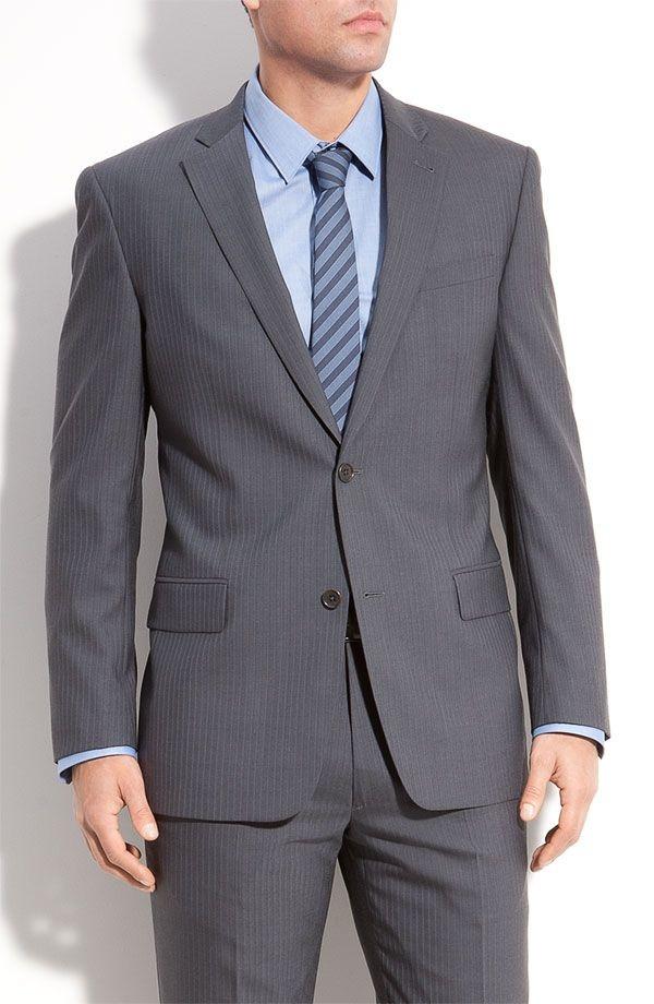 Pinstripe grey wool suit