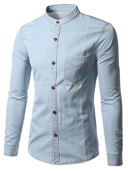 Grandad Collar Long Sleeve Pocket Denim Shirt