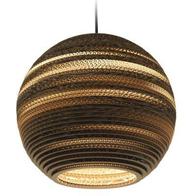 Moon kattovalaisin, Graypants. Kaunis, uusiokäytetystä pahvista valmistettu valaisin joka on käsitel...