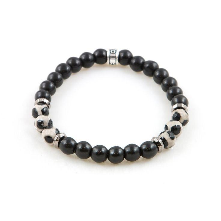 Men's Black Dzi Agate Bracelet