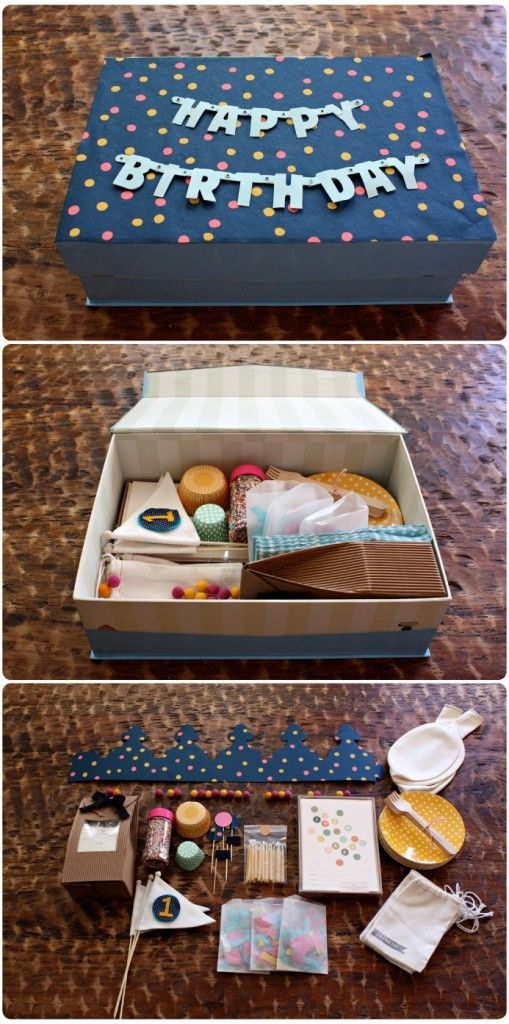 D.I.Y. – A birthday party in a box - Great Idea for kids away at college or camp on their birthdays