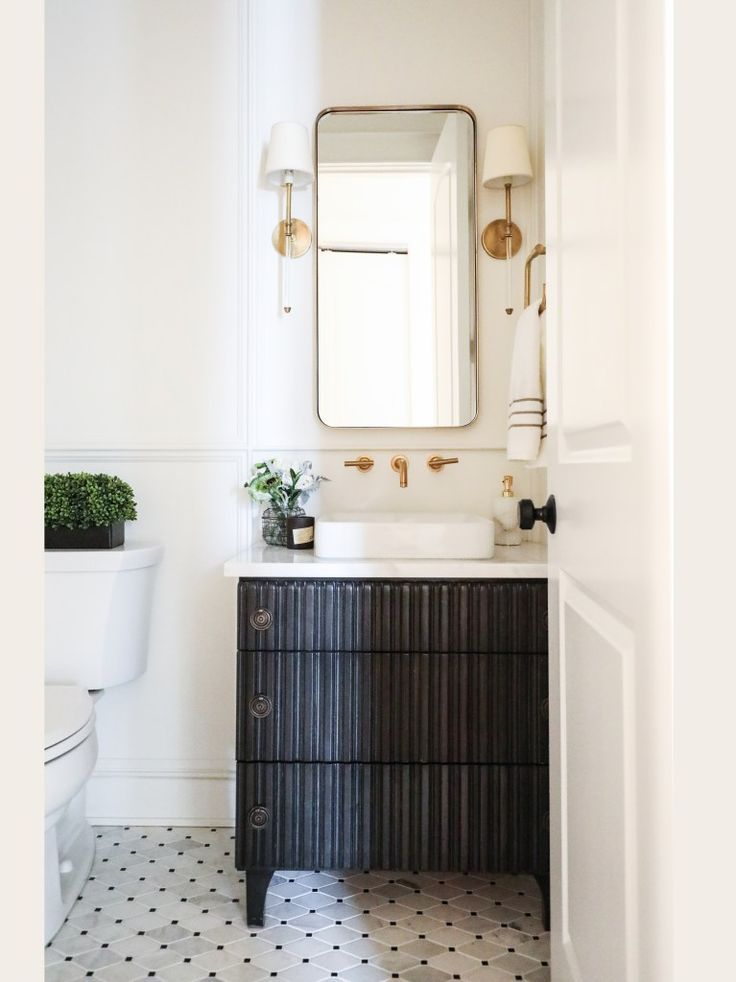 Love This Bathroom For Guest Floating Faucet Floor Dark Vanity Gold Acrylic Sconces