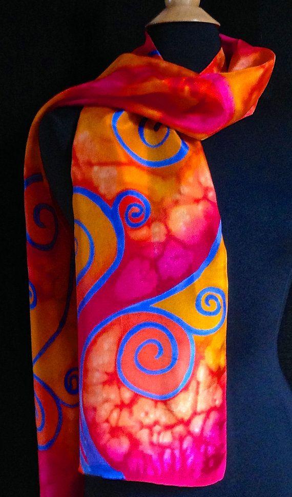 Vibrant blue swirl silk scarf by FantasticPheasant on Etsy, $35.00
