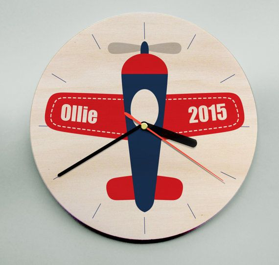 Personalised Childrens Wooden Wall Clock / Plane / Unique Wooden Clock / Modern Kids Clock / Nursery Clock / Boys Clock