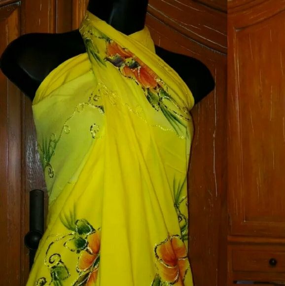 """VINTAGE HAWAIIAN 70 X 46 CLOTH SARONG DRESS Pretty bright yellow with EMBROIDERED flowers 70""""x46"""" CLOTH for a SARONG or wrap. Dye mark on bottom corner consistent with hand made items like this. HINT: MY mannequin is a size 2 and the way I have this wrapped for a dress just fits it. I probably have it wrong but just so you know. Bundle to save 25% - 30% Vintage Dresses Maxi"""