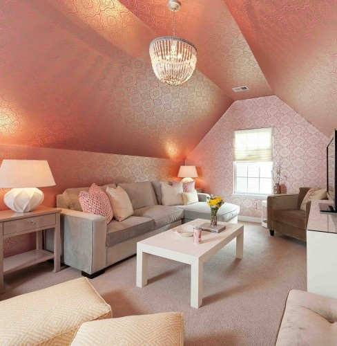 pink attic room-I love this wallpaper, but probably just 1 wall of it would be enough!